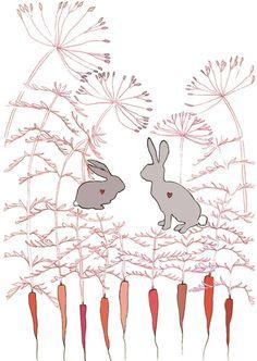 Print of rabbits, carrots, and dandelions.