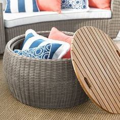 Center point. Anchor your outdoor seating collection with our Point Judith Coffee Table. In handsome synthetic wicker - durable, low maintenance, and designed to resist the effects of sun, rain, and extreme temperatures. Naturally water-repellent, Grade A teak wood top is removable. Take a peek underneath to reveal ample storage for outdoor cushions, extra pillows, or quick-grab blankets for those extra chilly evenings under the stars. The perfect complement to our Point...