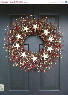 Fourth of July Wreath July 4th Wreath Patriotic by ElegantWreath, $63.00