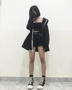 Beautiful Grunge Outfit Ideas Try Out Now! - Beautiful Grunge Outfit Ideas Try Out Now! Grunge Outfits, Edgy Outfits, Mode Outfits, Korean Outfits, Grunge Fashion, Girl Outfits, Fashion Outfits, Egirl Fashion, Beach Outfits