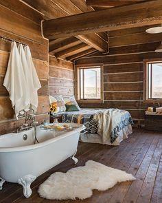 Little Lost River rustic log home designed by Architect Clark Stevens.