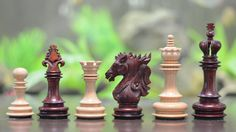 The Dragon Knight Series Chess Pieces Carved in Bud Rose / Box Wood
