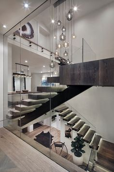 Staight Staircase canada contemporary villa staircase design glass balustrade matt back glass standoff&bracket from china staircase supplier demax arch staircase&railing,led lighting design stairs. Modern Stair Railing, Stair Railing Design, Staircase Railings, Modern Stairs, Wood Stairs, Basement Stairs, Open Basement, Open Staircase, Staircase Remodel