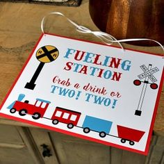 Train Birthday Party Decorations: DIY Decor Chugga Chugga Two Two Birthday Party Fueling Station Sign All Aboard for your two year old's train party! 2 Year Old Birthday Party, Thomas The Train Birthday Party, 2nd Birthday Boys, Second Birthday Ideas, Trains Birthday Party, Boy Birthday Parties, Birthday Board, Diy Birthday, Train Party Decorations
