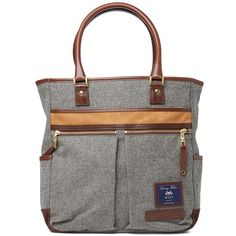 Master-Piece Moon Leather Trim Wool Tote (Grey)