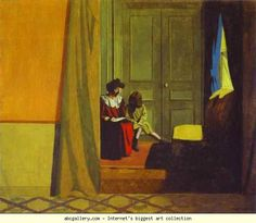 Félix Vallotton. Woman Reading to a Small Girl/Femme faisant lire à une petite fille. 1900. Oil on cardboard mounted on wood. 58 x 70 cm. Private collection.