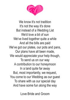 Wedding Gift Money Poem Short : 50 Wedding Money Poem Cards Heart Design for invitations ask for money ...