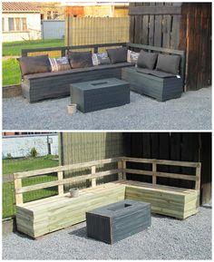#Garden, #PalletLounge, #PalletSofa, #RecycledPallet