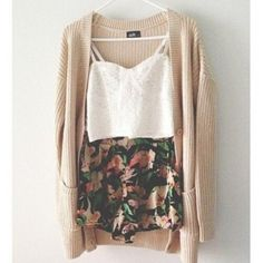 white crop top, floral shorts and cream cardigan.