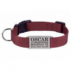 Personalized Dog Collar Engraved Nameplate S M L  Brown