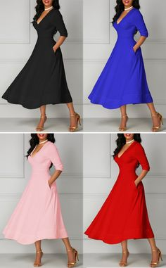Elegant Half Sleeve Deep V Neck Midi Dress