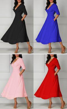 Elegant Half Sleeve Deep V Neck Midi Dress