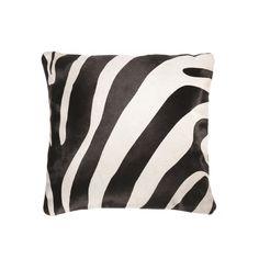 "Torino Cowhide Pillow 18""X18"" Zebra Black On Off White - Emmanuel Torabi Home - $145.00 - domino.com"