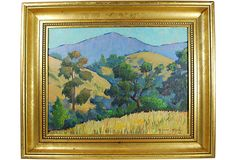 Plein air painting by Edward Hicks. Likely a central California scene. Lovely bright colors and custom frame.