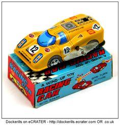 Racing Car, YONEYA / YONE, Japan (1 of 3). Vintage Tin Litho Tin Plate Toy. Wind-Up / Clockwork Mechanism. With spark.