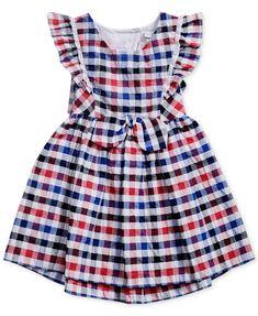 Sweet Heart Rose Multi-Color Checked Dress, Little Girls - Dresses - Kids & Baby - Macy's Bow Back Dresses, Girls Casual Dresses, Toddler Girl Dresses, Little Girl Dresses, Toddler Girls, Baby Girl Dress Patterns, Baby Dress, Kids Gown, Dress Neck Designs
