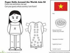 First Grade Geography Paper Dolls Community & Cultures Worksheets: Paper Dolls Around the World: Vietnam Kids Around The World, Around The Worlds, Worksheets For Kids, Activities For Kids, Germany For Kids, Harmony Day, World Thinking Day, Collor, Black And White Drawing
