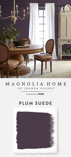 Evoke elegance and glamour with the deep eggplant hue of Plum Suede, from the Magnolia Home by Joanna Gaines™ Paint collection. This dark purple interior paint color creates a sense of moody dr Dark Purple Walls, Plum Walls, Purple Accent Walls, Purple Accents, Dark Walls, Purple Interior, Interior Paint, Interior Design, Interior Trim