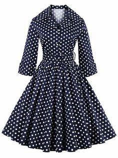 Prezzi e Sconti: #Retro polka dot print 3/4 sleeve flare dress  ad Euro 22.92 in #Women #Moda