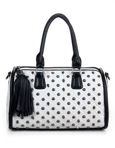 Women's #Fashion #Bags: Handbags, #Purses, and Totes:  Gothic #White Studded Skeleton #Black Fringe PU Leather Woman's Tote Bag