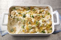 Creamy Chicken & Broccoli Casserole recipe-Philly Cooking Creme infused with garlic is the key to this savory chicken and broccoli bake. A cracker topping provides the finishing touch.