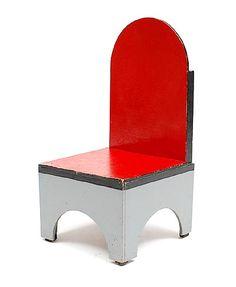 Chair executed in grey black and red design Ko Verzuu ca.1925 executed by ADO / Arbeid Door Onvolwaardigen Berg en Bosch / the Netherlands
