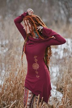 Znia Dress / Cowl Neck pixie dress / Sacred geometry dress /
