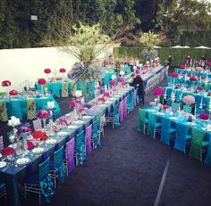 blue and teal dinner party with 10 ft tall centerpieces | Designed by Wildflower Linen | Gene Higa Photography