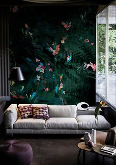 Contemporary Wallpaper 2016 collection by Wall&Decò premiered in Paris Brick Accent Walls, Accent Walls In Living Room, Living Room Green, Living Room Colors, Casa Milano, Accent Wall Designs, Beautiful Sofas, Contemporary Wallpaper, Colorful Wall Art