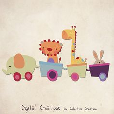 Toy Train Digital Clip Art - Giraffe, Elephant, Rabbit and Lion - Commerical and Personal use - Great for the Nursery