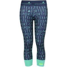 Stella McCartney Grey 3/4 Length Leggings ($38) ❤ liked on Polyvore featuring activewear, activewear pants, blue, adidas, logo sportswear, adidas sportswear and adidas activewear