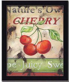 Cherry Kitchen Decor Vintage Sign Art Print Framed | eBay
