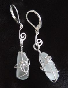 Sea glass earrings - nickel free, 925 silver plated hooks Glass Earrings, Glass Beads, Drop Earrings, Sea Glass, 925 Silver, Hooks, Silver Plate, Personalized Items, Crystals