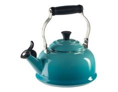 Le Creuset make a full range of turquoise goodies, they call it 'Caribbean Blue'. This kettle fits well in my turquoise kitchen.