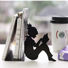 Girl Reading a Book Bookends. I love silhouettes. #PBDORM
