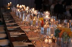 Table setting for buffet - neatly folded napkins with placecards/menu