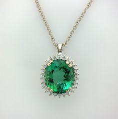 Green Tourmaline Diamond Halo Pendant with by ScottsFineJewels