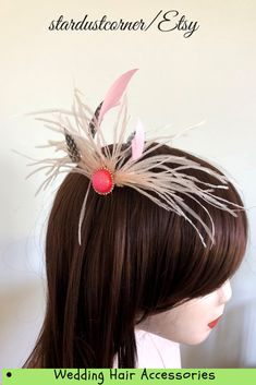 Pink Fascinator Hair Pin, Feather Head Ornament on a Slide Comb, Wedding Hair Accessories by StardustCorner on Etsy Easy Hairstyles, Straight Hairstyles, Wedding Hairstyles, Pink Fascinator, Headpiece, Pink Feathers, Pink Stone, Wedding Hair Accessories, Hair Pins