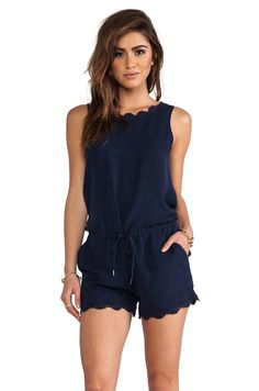 e960a862566 Joie Carenza Lace Trim Romper in Dark Navy from REVOLVEclothing Fashion  Outfits