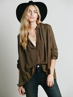 Free People Ruffled Hem Buttondown at Free People Clothing Boutique - dark olive or white - L