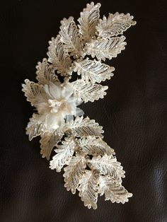 Rupert&Ralph Bridal Headpiece #hand-beaded #lace #leaf #vintage Bridal Headpieces, Beaded Lace, Crow, Arts And Crafts, Brooch, Couture, Vintage, Jewelry, Fashion