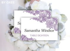 Printable wedding place card template  Vintage Lavender by Oxee, $7.00