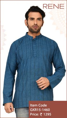 #Exclusive #EthnicWear #Design #Traditional #Trendy #Kurta #Men #Blue #Ootd #Outfit #Fashion #Style #ReneIndia #Brand available on #Flipkart #Snapdeal #paytm