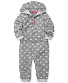 Carter's Baby Romper, Baby Girls Hooded Heart-Print Coverall - Kids Baby Girl (0-24 months) - Macy's