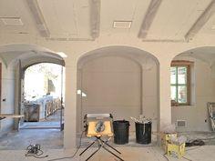 patina farm update: and the walls go white. Kitchen Hearth Room, Farm Door, Hacienda Homes, Patina Farm, Fireplace Doors, Italian Farmhouse, House 2, Farm House, Amazing Spaces