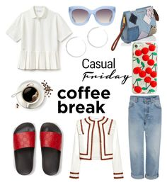 """""""Casual outfit"""" by ene-andreea on Polyvore featuring Gucci, Lacoste, Ganni, Marc Jacobs, Alice + Olivia and Skinnydip"""