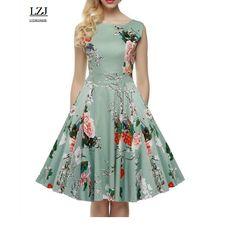 LZJ women's 2017 summer dress sleeveless robe leisure retro 20th century 60's rock and roll big swing long flower dress vestidos #Affiliate