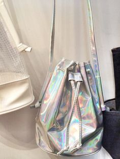holographic bucket bag  holographic cyberpunk cyber grunge space grunge harajuku fachin bag accessories under30 etsy