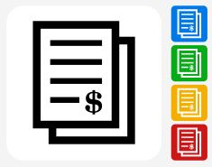 Money Documents Icon Flat Graphic Design vector art illustration