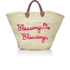Poolside Blessings On Blessings Panier Marche Tote ($175) ❤ liked on Polyvore featuring bags, handbags, tote bags, pink, pink tote handbags, tote purses, beige tote, embroidered tote bags and straw purse
